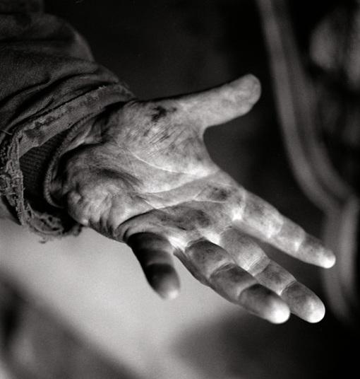 Dirty trucker hands