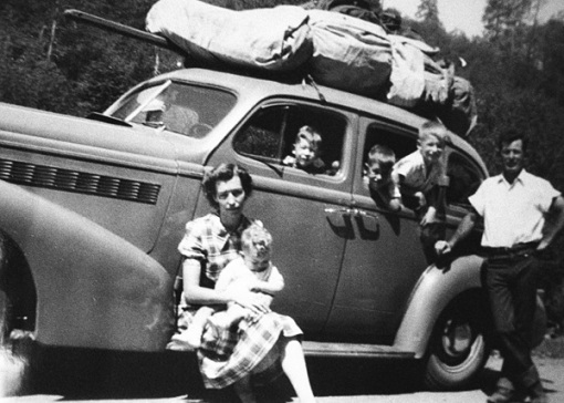 grandparents in car